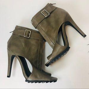 Charlotte Russe Taupe heeled peep toe heels